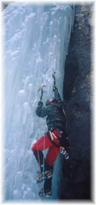 Leading the second pitch on Icy BC on January 19, 2002. Photo by Dave Burdick.